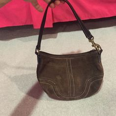 Final sale! Brown coach  small suede leather bag Brown suede coach bag small stain on front shown in picture... Inside is clean Coach Bags