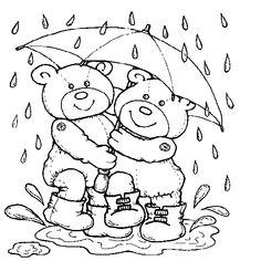Two Bear Wearing Umbrella For Rain