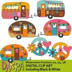 Caravan clip art with flowers and peace signs. RV camper clipart in retro hippie theme. Check below for more fun camper caravans by Darra Best selling Happy Camper Link-Clipart Happy Camper - Cute camping caravan RV clip art pastel colors Arts And Crafts For Adults, Christmas Crafts For Kids To Make, Arts And Crafts House, Easy Arts And Crafts, Crafts For Seniors, Crafts For Boys, Toddler Crafts, Hippie Camper, Arts And Crafts Storage