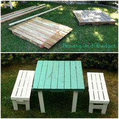 BeautyAndABudget: DIY Teal Pallet Furniture