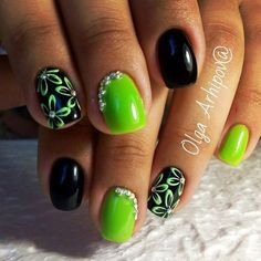 Lime green black manicure. Glow in the dark nails. Nails. Manicure. Gems. Accent nails. Florals.