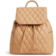 Vera Bradley Quilted Amy Backpack in Nude ($258) ❤ liked on Polyvore featuring bags, backpacks, accessories, purses, nude, leather rucksack, leather backpack, leather drawstring backpack, pocket backpack and genuine leather backpack