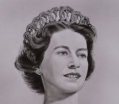 "Detail Original painting ""HRH Queen Elizabeth II"" Acrylics / Oil on paper Dry brush / Mixed technique FOR SALE on eBay http://www.ebay.co.uk/usr/portraitsrmv"