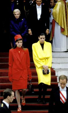 Stephanie looked sunny wearing a vibrant yellow wrap coat to the cathedral of Monaco during National Day with her family. Princess Grace Kelly, Princess Stephanie, Andrea Casiraghi, Royal Brides, Royal Weddings, Prince Albert Of Monaco, Prince Rainier, Monaco Royal Family, Her Style
