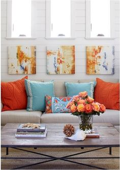 Decorating with... Orange {Inspirational Fall Decor}...love this color combo,must do somewhere in or around the house!!
