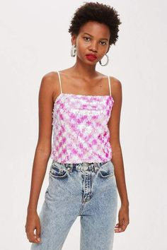 Topshop PETITE Sequin Embellished Camisole Top in bright neon pink and white   1fe47788e