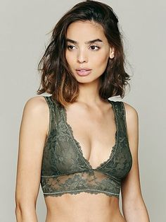 49e6c0da5a4 I discovered this Free People Galloon Lace Deep V Bra on Keep. View it now
