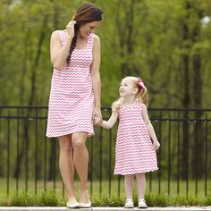 Mommy and Me, pink chevron