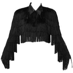 Preowned Norma Kamali Omo Vintage 1980S Black Fringe Jacket ($550) ❤ liked on Polyvore featuring outerwear, jackets, black, fringe, tops, 80s jackets, black 80s fashion, vintage jacket, norma kamali and vintage 80s jacket