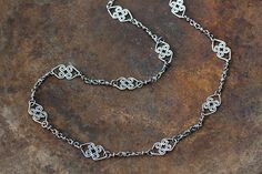 Handcrafted Silver Chain Necklace Double Celtic Heart