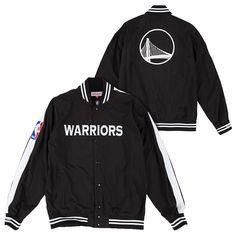 Golden State Warriors Mitchell & Ness Nothing But Net Wordmark Warm Up Jacket - Black