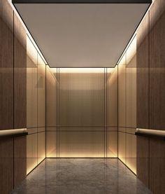 elevator cab- pulp studio glass panels with bronze woven metal mesh Lobby Interior, Interior Lighting, Interior Architecture, Ceiling Design, Wall Design, House Design, Hotel Interiors, Office Interiors, Elevator Lobby Design