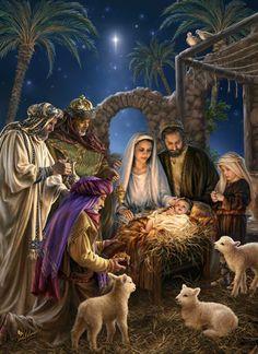 Maria e José e os três homens sábios do Oriente no estábulo em Belém com Jesus Cristo