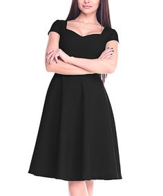 Another great find on #zulily! Black Square-Neck A-Line Dress - Plus Too #zulilyfinds
