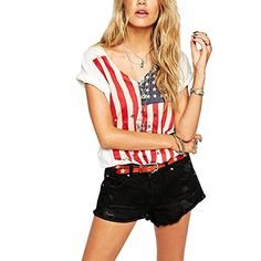Meilaier Womens Casual Stars and Stripes Shirts Tank Tops…