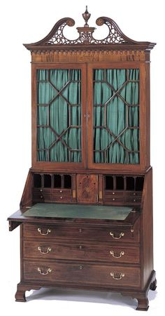 English Chinese Chippendale Style 19th Cent Carved Mahogany Lattice Design Secretary With Gilt