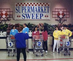 Supermarket Sweep(1990)_ The game consisted of 3 segments: the question round, the Big Sweep, & the Bonus Sweep. The game was played between 3 teams of two related individuals, such as a parent and child, spouses, siblings, or best friends. In the last two rounds, the team members wore sweatshirts of the same color: Team 1: Light Blue or Red, Team 2: Red or Light Blue, Team 3: Yellow.