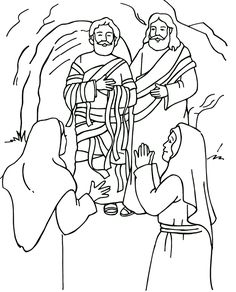 Resurrección de Lázaro Página para colorear, Resurrection of Lazarus, Bible coloring page.