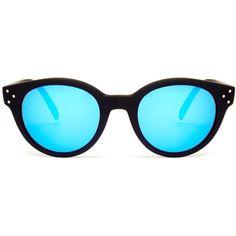 Spektre Vitesse mirrored sunglasses ($114) ❤ liked on Polyvore featuring accessories, eyewear, sunglasses, black multi, mirror lens sunglasses, mirrored glasses, round frame glasses, mirrored sunglasses and mirror sunglasses