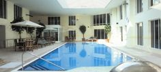 The large swimming pool at Norton Park in Hampshire - perfect for hen dos #spa #hen #hens #parties #weekends