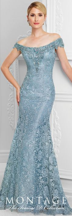 Formal Evening Gowns by Mon Cheri - Spring 2017 - Style No. 117D71 - wedgwood blue tulle and embroidered lace evening dress Más