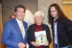 Ernie Anastos children's book author and New York TV anchor celebrates with Oscar actress Olympia Dukakis and American Idol Broadway star Constantine Maroulis for St. Jude's charity.