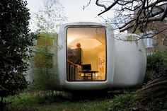 jean maneval ( 1923-1986) : the 'six-shell' bubble  the architect, urban designer and theorist, jean maneval developed in 1964 a dwelling unit  made entirely of synthetic materials.  produced industrially and commercialized in series in 1968, it was part of the program to  equip an experimental vacation center in the pyrenean mountains.  each living unit (6 shells) was easily transported by truck.  http://www.designboom.com/eng/archi/maneval.html