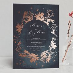 """multiple color options-- """"""""Pressed Flowers"""" - Modern Foil-pressed Wedding Invitations in Navy by Phrosne Ras. Spring Wedding Invitations, Foil Stamped Wedding Invitations, Wedding Invitation Wording, Wedding Stationery, Invites, Wedding Calligraphy, Wedding Thank You Cards, Wedding Gifts, Wedding Verses"""