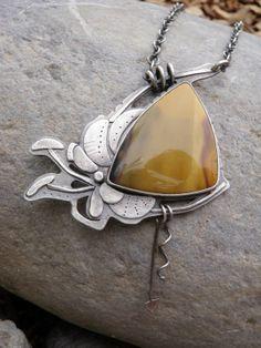 Crocosmia: Emily Mackenzie, Perennial Warrior Necklace, Mook Jasper Necklace, Yellow Jasper, Hummingbird Necklace