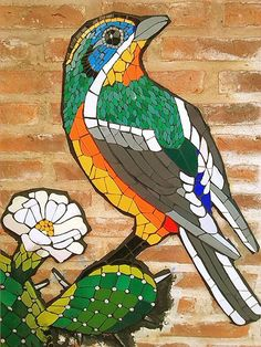 Bird on a tree - mosaic
