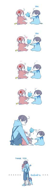 Sharing sweets ...  Drawn by JUSTIS ... Free! - Iwatobi Swim Club, free!, iwatobi, rinrin, haru-chan, haruka nanase, haru nanase, haru, nanase, haruka