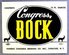Haberle Congress Brewing Co Congress Bock Beer Label NY 12oz | eBay