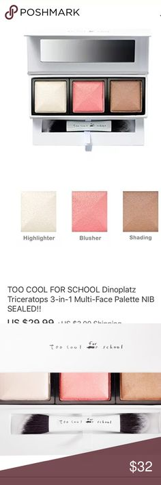 Too Cool For School Dinoplatz Triceratops Palette New! Too Cool For School Dinoplatz Triceratops Multi-Face Palette. Retails for $48 on Sephora.com. Best of Korean beauty!  **sealed** NIB!!! too cool for school Makeup Bronzer