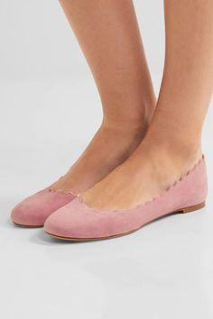 Chloé - Lauren Scalloped Suede Ballet Flats - Pink - IT