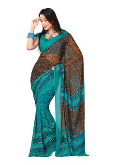 Fabdeal Brown and Turquoise Georgette Printed Saree Daily Wear