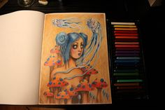 Color pencil speed drawing video: Blue haired jelly fish girl