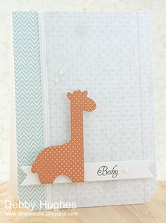 Baby card; nice paper print combo - Papertrey Ink stamps
