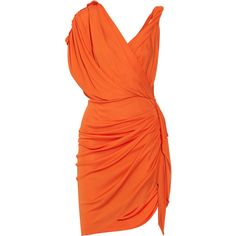 Lanvin Draped crepe-jersey dress ($1,238) ❤ liked on Polyvore featuring dresses, orange, vestidos, lanvin, short dresses, bright orange, orange dress, orange mini dress, crepe dress and loose mini dress