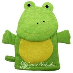 Esponja guante ranita verde, fantástico guante de baño, ideal para niños, muy divertido. #diy