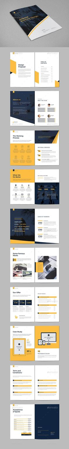 Buy Proposal Brochure by on GraphicRiver. 24 page professional, clean, brochure template Just drop in your own photos and texts. Document features paragraph s. Design Portfolio Layout, Layout Design, Print Layout, Design Design, Portfolio Pdf, Minimal Web Design, Corporate Design, Business Design, Business Company