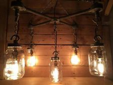Steampunk steel hanging mason jar light with vintage cables