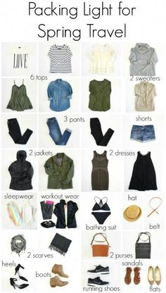 packing light for spring international travel (The Pleated Poppy) – european travel outfit summer Packing For Europe, Packing Tips For Travel, Vacation Packing, Packing Outfits For Travel, Travel Hacks, Weekend Packing, Travel Packing Light, Clothes For Traveling, Travel Europe
