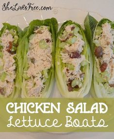 Chicken Salad Lettuce Boats Recipe - Easy Fast and Delicious! Chicken Salad Lettuce Boats Recipe - Easy Fast and Delicious! Low Carb Recipes, Cooking Recipes, Healthy Recipes, Low Cholesterol Recipes Dinner, Salad Recipes, Juicer Recipes, Fast Recipes, Healthy Food Choices, Health And Fitness