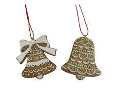 Set of 2 Gisela Graham Gingerbread Style Christmas Tree Decorations