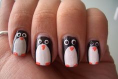 uñas pintadas con diseños lindos - Penguin Nails, Snowman Nails, Uñas Diy, Pedi, Nail Designs, Hair Beauty, Make Up, Polish, Nail Art