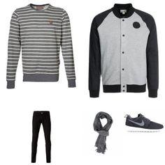 Bomberjack Outfit outfit - Street style - Deze look is comfortabel, nonchalant en sportief. Het bomberjack van Converse is een stoer en sportief item, door hem te combineren met de trui met streepjes van Naketano en de jeans van Carhartt ontstaat een mooi geheel. De sneakers van Nike zorgen voor een sportief accent. De sjaal van Suitableshop maakt de look af.