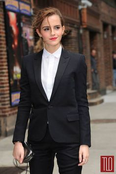 Emma Watson wearing @James Barnes Teste Lady- Tux. She wears it to perfection. via: tomandlorenzo.com