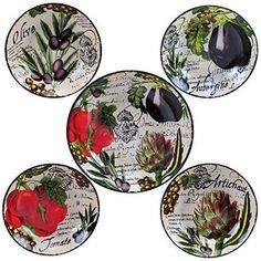 Certified International Corp 89230 Certified International Botanical Veggies Pasta Set, Multicolored, 5 Piece