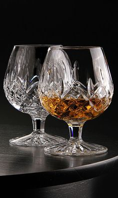 Waterford Lismore Large Brandy, room in snifter for cognac to breathe Waterford Lismore, Waterford Crystal, Drinkware, Barware, Cocktail Trolley, Vintage Wine Glasses, Brandy Glass, Whisky Bar, Glass Tea Cups