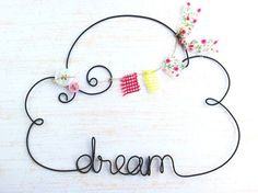 Items similar to Nursery Decor, Personalized Cloud Shaped Name Sign, Wire Word/Name Wall Art, Rustic Wire Name Sign, Personalized Nursery Decor on Etsy Name Wall Decor, Name Wall Art, Diy Wall Art, Diy Art, Baby Nursery Diy, Nursery Decor, Wire Crafts, Diy And Crafts, Sculptures Sur Fil